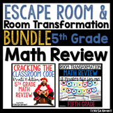5th Grade Math Review and Test Prep Escape Room and Room Transformation Bundle