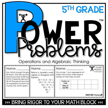 5th Grade Word Problems | Math Spiral Review Algebraic Thinking Power  Problems