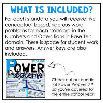 5th Grade Word Problems | Math Spiral Review Place Value Power Problems