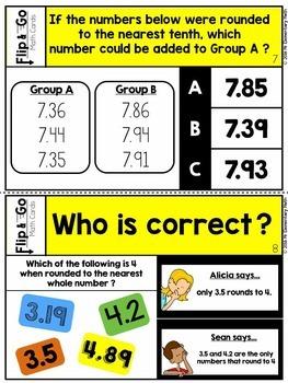 Rounding Decimals - 5th Grade Math Flip & Go Cards