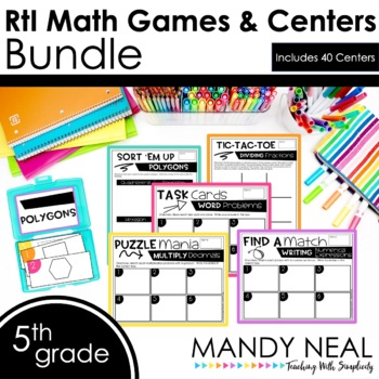 5th Grade Math RtI Intervention Games and Centers Growing Bundle