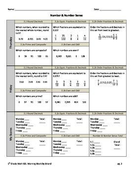 SOL Morning Work by Strand - 5th Grade Math - Number Sense Freebie