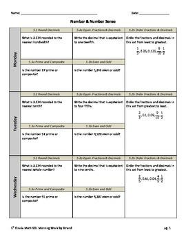 SOL Morning Work by Strand - 5th Grade Math - Number Sense