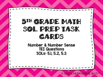 5th Grade Math SOL PREP TASK CARDS