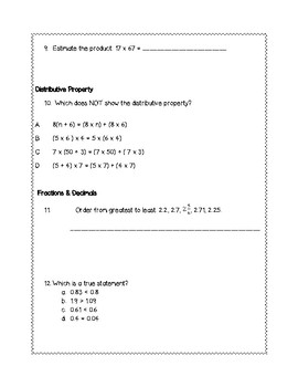 5th Grade Weekly Math SOL Review #2