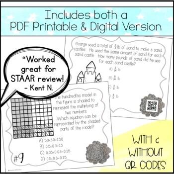 5th Grade Math STAAR Prep - Task Cards