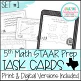 5th Grade Math STAAR Review & Prep - Task Cards - PDF & Digital