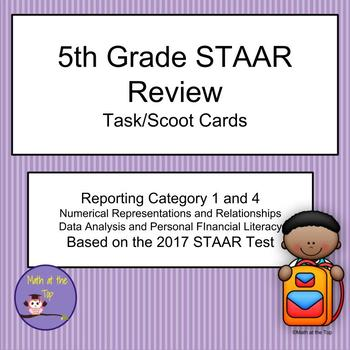 5th Grade Math STAAR Reporting Category 1 and 4 Task/Scoot Cards - 2017 STAAR