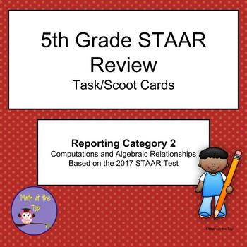 5th Grade Math STAAR Reporting Category 2 Task/Scoot Cards - 2017 STAAR