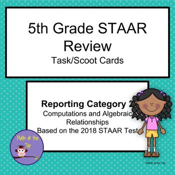 5th Grade Math STAAR Reporting Category 2 Task/Scoot Cards - 2018 STAAR