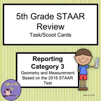 5th Grade Math STAAR Reporting Category 3 Task/Scoot Cards - 2018 STAAR