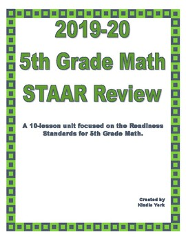 2018 Update- 5th Grade Math STAAR Review by Kindle York | TpT