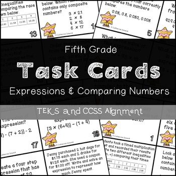 5th Grade Math Task Cards {Expressions & Comparing Numbers} TEKS 5.2ABC, 5.4AEF