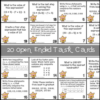 5th GRADE STAAR TASK CARDS {Expressions & Comparing} 5.4F 5.2A 5.2B 5.2C 5.4A