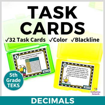5th Grade Math Task Cards {Decimals Models & Operations} TEKS 5.3DEFGK