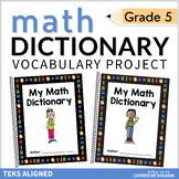 5th Grade TEKS Math Vocabulary STAAR Aligned ~ My Math Dictionary & PLC Tools
