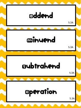 5th Grade Math STAAR Vocabulary