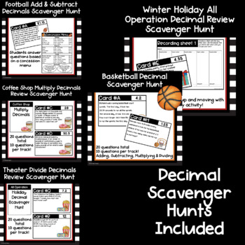 5th Grade Math Scavenger Hunt Bundle