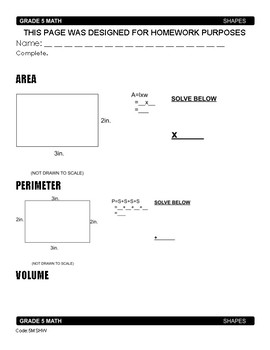 Volume, Area And Perimeter Worksheets & Teaching Resources | TpT