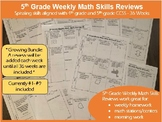 5th Grade Math Skills Reviews - 36 weeks - Growing Bundle