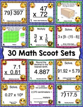 5th Grade Math Skills Scoot - Emoji Themed