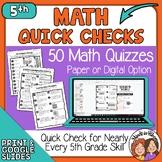 5th Grade Math Skills Year Long Quick Checks  digital opti