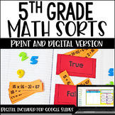 5th Grade Math Sorts - Digital Math Sorts Included for Digital Math Centers