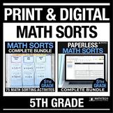 5th Grade Math Sorts PRINT & DIGITAL Bundle Distance Learn