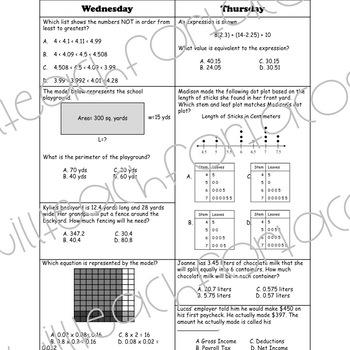5th Grade Math Spiral Review Homework 2 Week FREEBIE