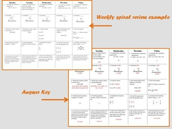5th Grade Math Spiral Review Quarter 1 {CCSS Aligned}