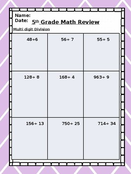 5th Grade Math Spiral Review