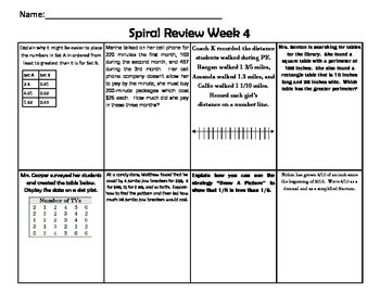5th Grade Math Spiral Review - 9 WEEKS!  Texas TEKS!