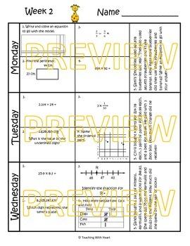 5th Grade Math Spiral Review Bundle (TEKS aligned) Weeks 1-36 - Save $7