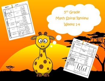 5th Grade Math Spiral Review Bundle (TEKS aligned) Weeks 1