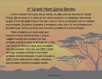 5th Grade Math Spiral Review Free Sample (TEKS aligned)
