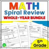 5th Grade Math Spiral Review Common Core Practice Whole Ye