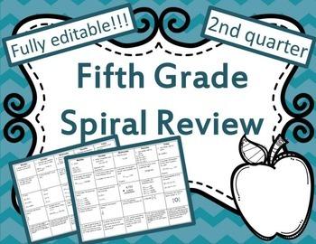5th Grade Math Spiral Review Quarter 2  {CCSS Aligned}