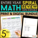 5th Grade Math Spiral Review & Quizzes | DIGITAL & PRINT |