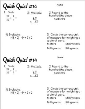 5th Grade Math Spiral Review Quizzes