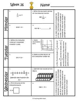 5th Grade Math Spiral Review (TEKS aligned) Weeks 25-28