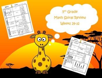 5th Grade Math Spiral Review (TEKS aligned) Weeks 29-32