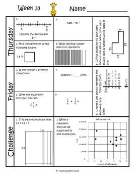 5th Grade Math Spiral Review (TEKS aligned) Weeks 33-36