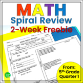 5th Grade Math Spiral Review Weekly Common Core Practice Worksheets FREEBIE