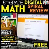 5th Grade DIGITAL Math Spiral Review & Weekly Quizzes | Google Forms | FREE