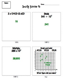 5th Grade Math Spiral Review for Common Core Skills *100 ...