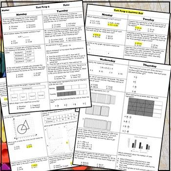 5th Grade Math Spiral STAAR Test Prep