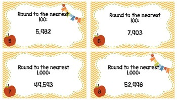 5th Grade Math Spiral Task Cards for August