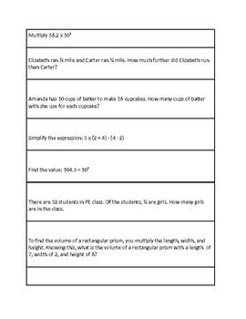 5th Grade Math Spiral Test Review