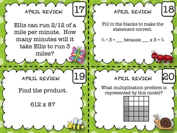 5th Grade Math - Spiraled Common Core Review Task Cards (APRIL)