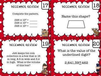 5th Grade Math - Spiraled Common Core Review Task Cards (DECEMBER)